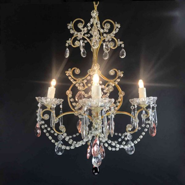 Mid-20th century Italian Four-armed Cage Chandelier with Clear and Pink Crystal Drops