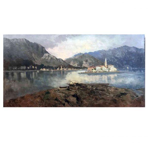 Isola dei Pescatori Lago Maggiore Italy Oil on Canvas Lake Landscape Late 19th Century