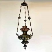 lampada votiva in rame sbalzato a