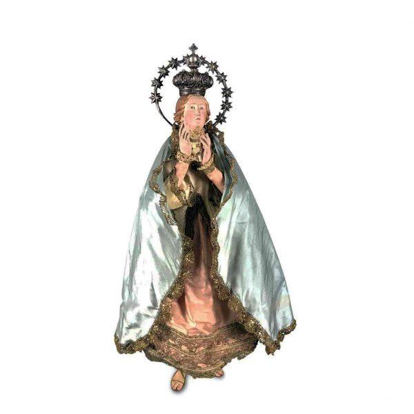 Madonna in Terracotta con Abiti Ricamati e Corona