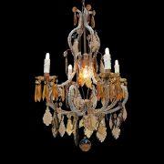 lampadario in cristallo trasparente e ambra a cinque luci o
