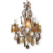 lampadario in cristallo trasparente e ambra a cinque luci p