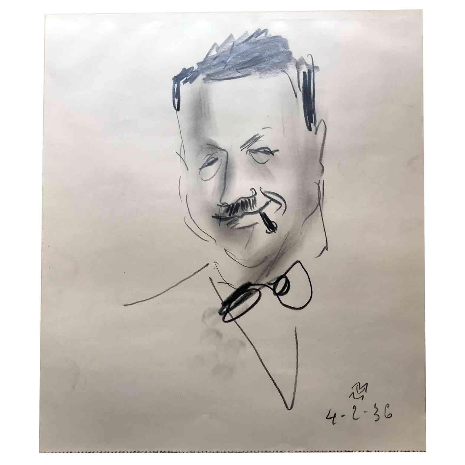 mario vellani marchi ritratto d'uomo a matita