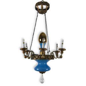 lampadario turchese e dorato lucca XIX secolo