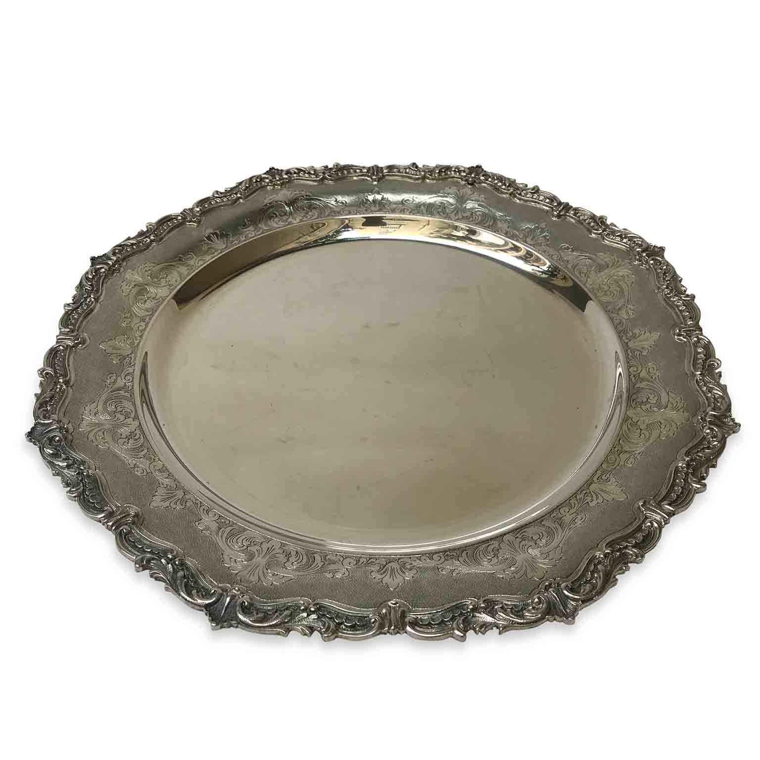 centrotavola vassoio tondo in argento XX secolo