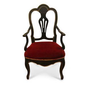 sedia laccata e dorata 1800