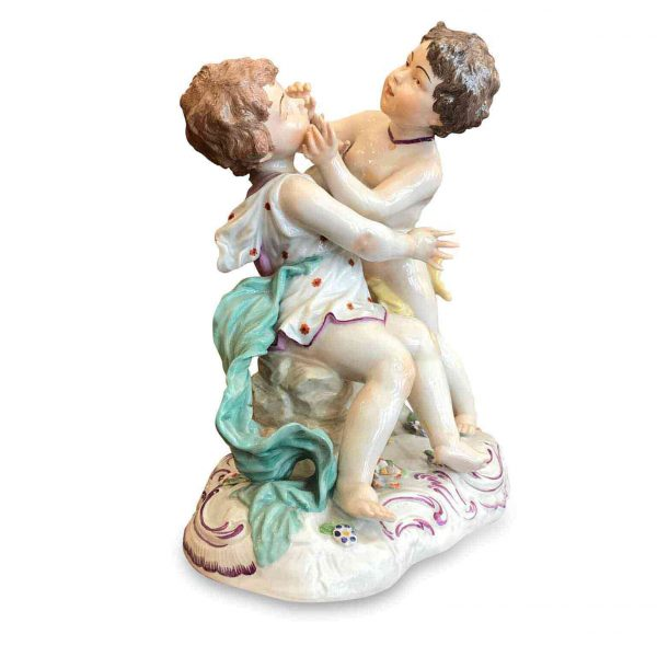 Early 20th Century French Polychrome Porcelain Children Group