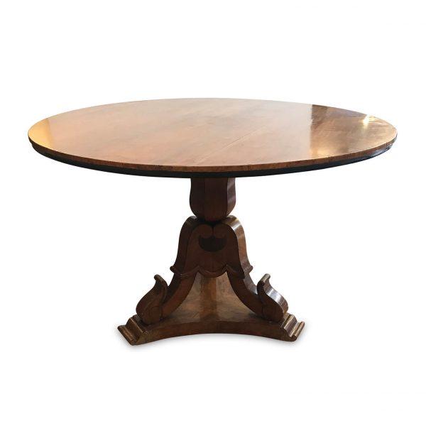 Tavolo Tondo Antico a Vela Noce Impiallacciato fine 1800
