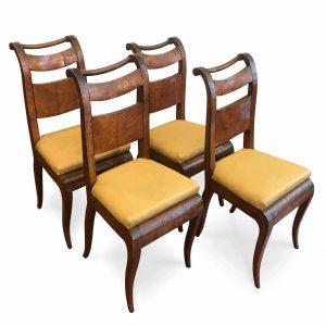 quattro sedie lastronate in acero stampigliate VB da restaurare