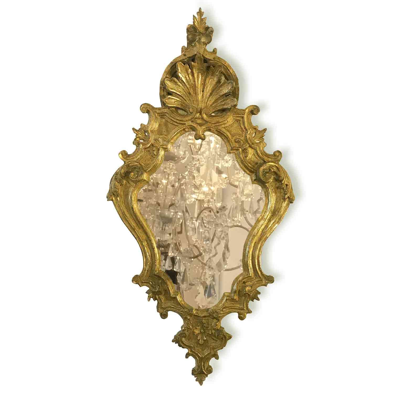 specchiera intagliata e dorata con specchio al mercurio 1700
