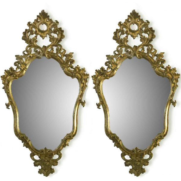 Italian Pair of 18th Century Louis XV Carved Mecca Mirrors
