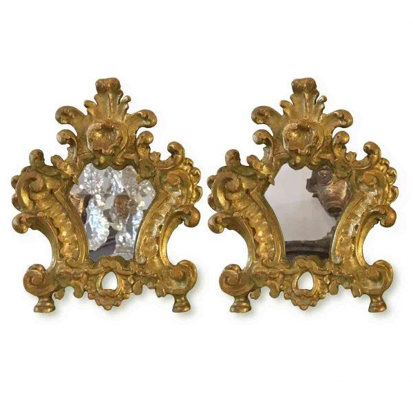 Pair of 18th Century Italian Louis XV Altar Giltwood Frames With Mercury Mirror