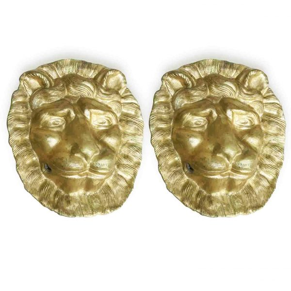 Pair of Gilded Lion Head Sculptures 19th Century Pair of Italian Masks