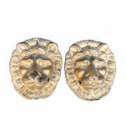 coppia di maschere con leoni dorati in cartapesta 1800