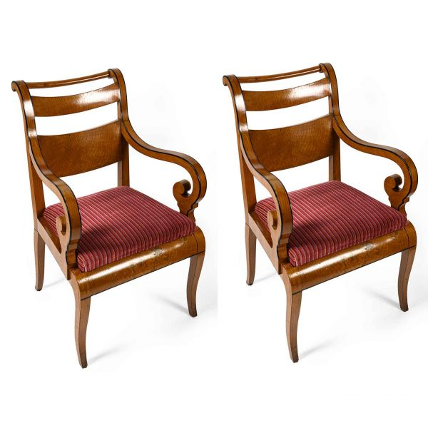 Pair of 19th Century Italian Charles X Maple Armchairs