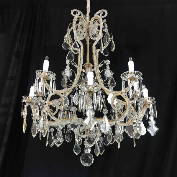 Italian 20th century Beaded Crystal Chandelier Eleven-Light Cage Chandelier