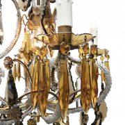 lampadario in cristallo trasparente e ambra a cinque luci a