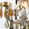 lampadario in cristallo trasparente e ambra a cinque luci c
