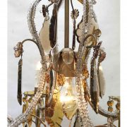 lampadario in cristallo trasparente e ambra a cinque lucid