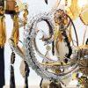 lampadario in cristallo trasparente e ambra a cinque luci f