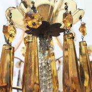 lampadario in cristallo trasparente e ambra a cinque luci h