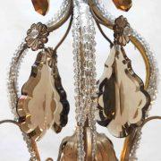 lampadario in cristallo trasparente e ambra a cinque luci l