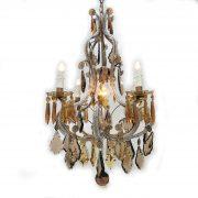 lampadario in cristallo trasparente e ambra a cinque luci