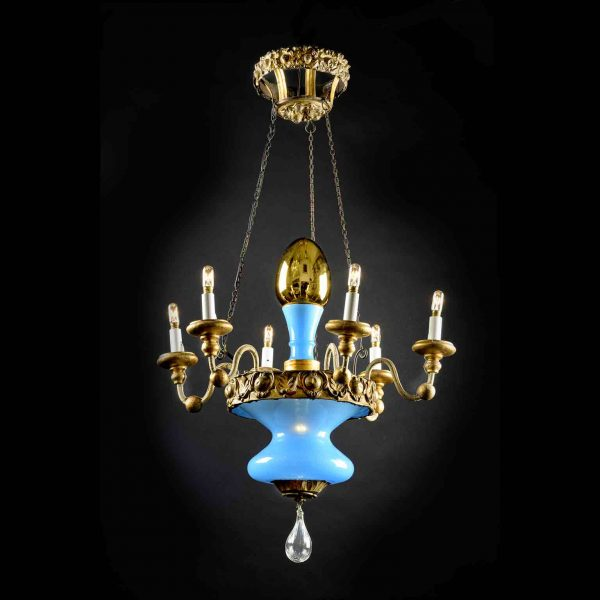 Turquoise Glass Italian Tuscan Chandelier from Lucca 19th Century