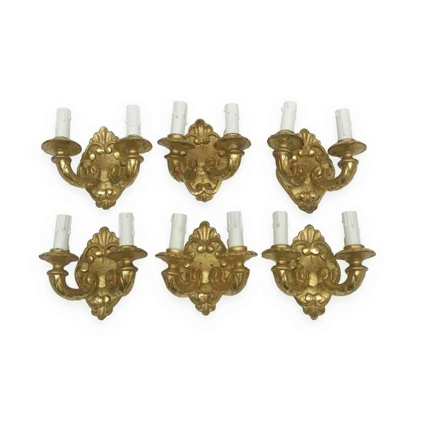 Set of Six Italian Wall Lights 19th Century Carved Gilt Wood Two-Light Sconces