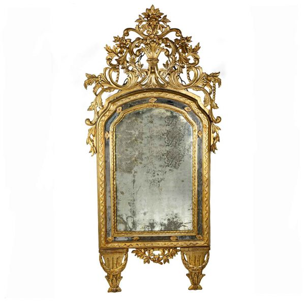 Italian 18th Century Mecca Gilding Mirror with Mercury Glass
