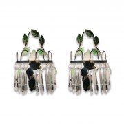 coppia appliques ferro laccato verde e cristalli 1950