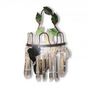 coppia appliques ferro laccato verde e cristalli 1950 b