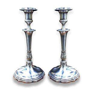 coppia di candelieri antichi in argento