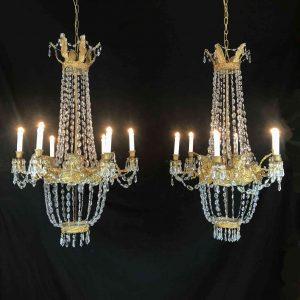 coppia lampadari impero 1800