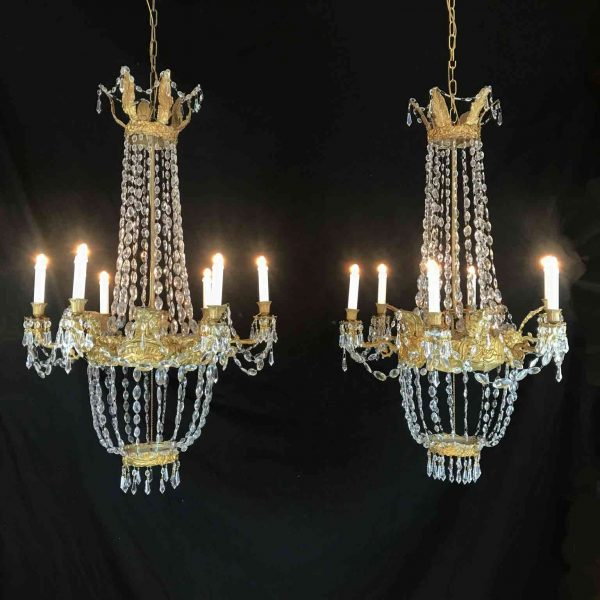 Pair of Italian Empire Chandeliers Early 19th Century Crystal Genoese Pendants