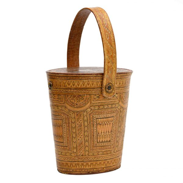 Italian 19th Century Braided Straw Basket Rome View Lid Gold Trim Leather Handle