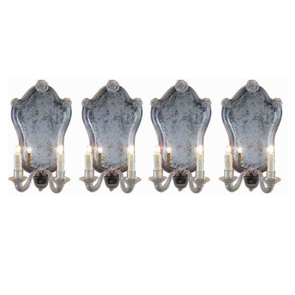 Set of Four Italian Venetian Glass Sconces with Mirror