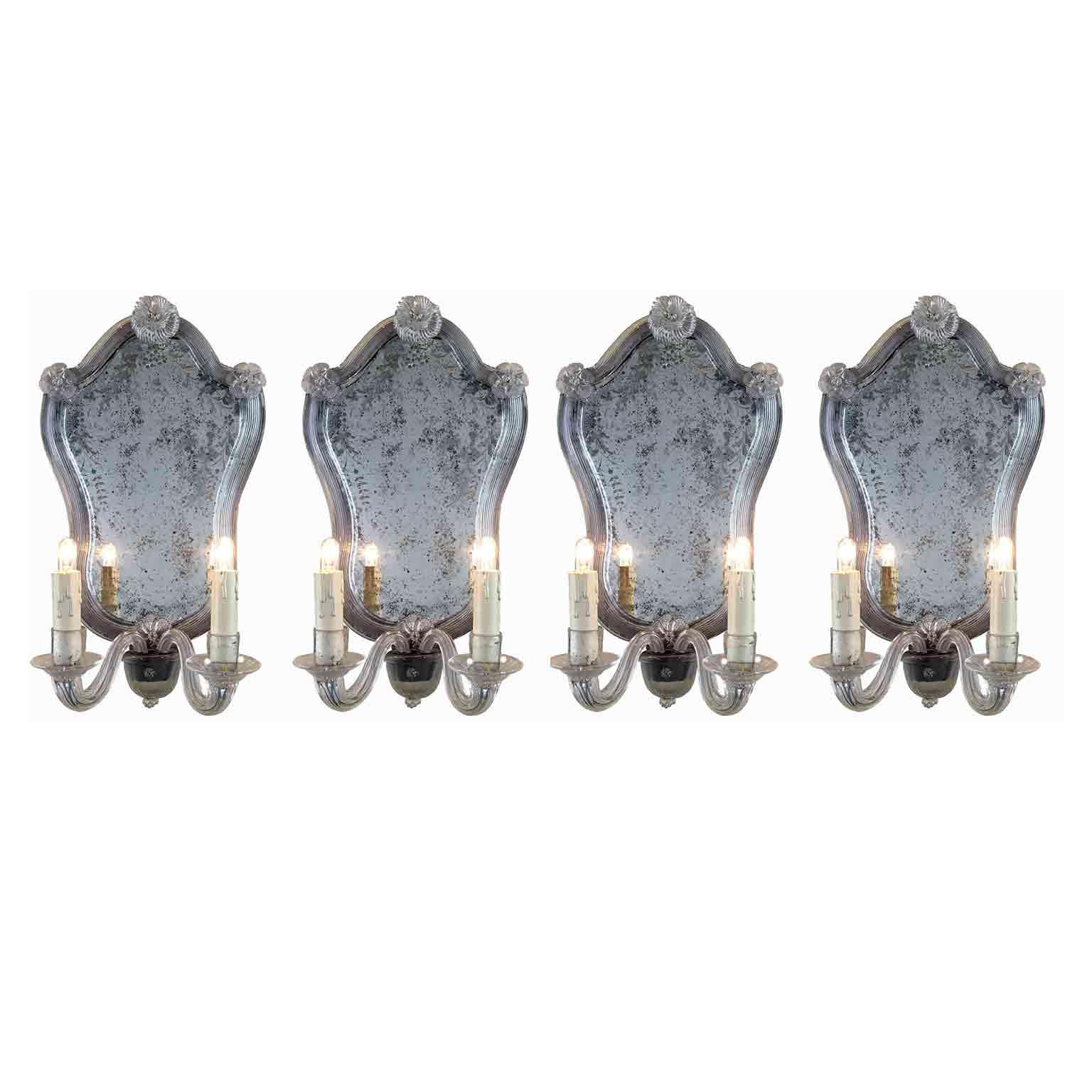 quattro appliques in vetro di murano con specchio molato