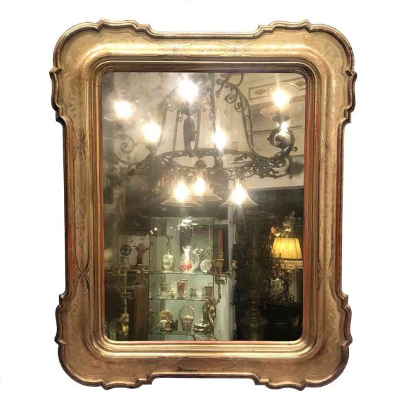 Italian 19th Century Large Mirror Carved Gilt wood with Original Mercury Glass