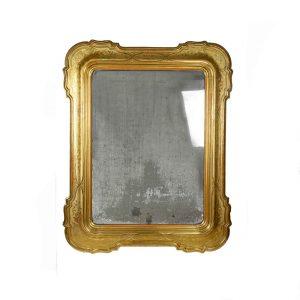 specchiera dorata 1800 con vetro al mercurio