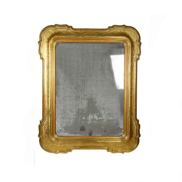 Grande Specchiera Dorata 1800 con Vetro al Mercurio