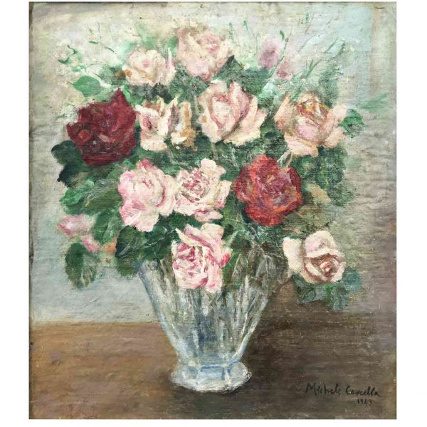 20th Century Italian Roses Still Life by Michele Cascella, 1943