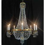 lampadario dorato stile impero cristallo