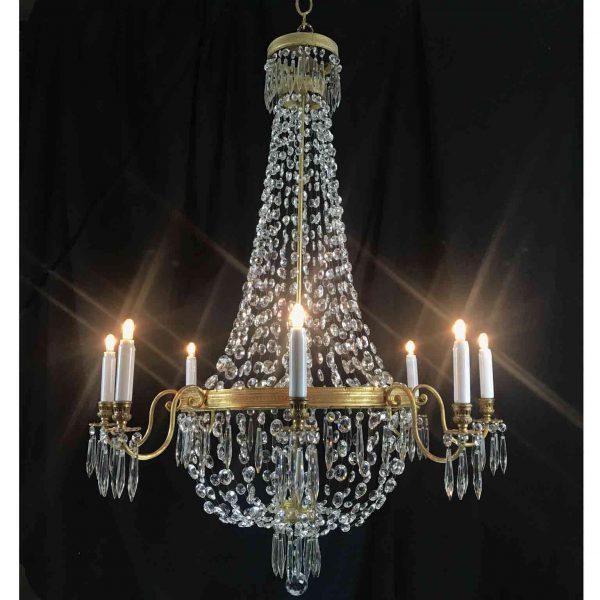 20th Century Italian Empire Chandelier Crystal Gilt Brass Eight-light Pendant