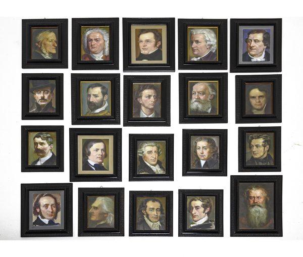 Set of Twenty Italian Portraits of Musical Composers by Cartone Aurelio 1935