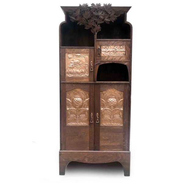Art Nouveau Scottish Mackintosh Style Cabinet Carved Oak Floral Copper