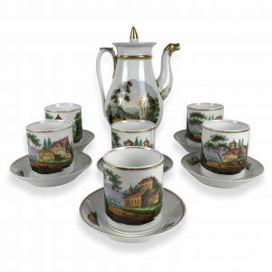 servizio da thé in porcellana decorata
