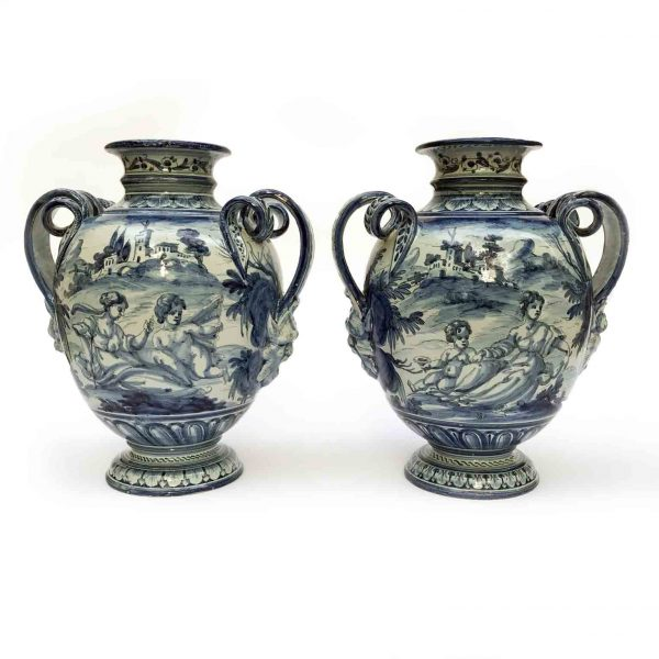 Pair of Italian Savona Vases Mid-20th Century Blue and White Round Handled Vases