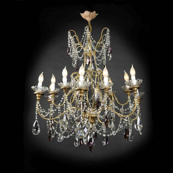 Early 20th Century Large Italian Crystal Chandelier