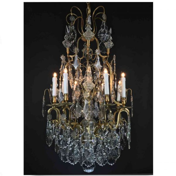 19th Century French Birdcage Chandelier Louis XV style with Crystal Spires
